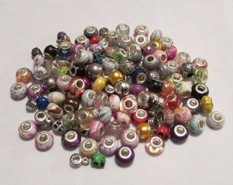 20pc Acrylic European Bead Mix Lot - Beads fit European and Pandora Bracelets