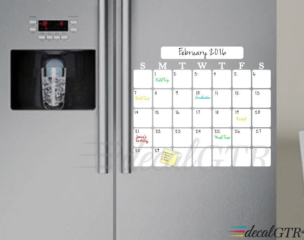 Weekly Refrigerator Calendar : Dry erase monthly calendar decal for kitchen fridge