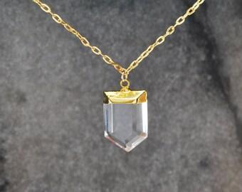 Crystal Quartz Pendant Necklace - 14k Gold Filled Necklace