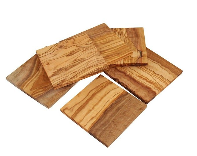 Coasters made of olive wood 6 piece square set of 6 wood unique hand work