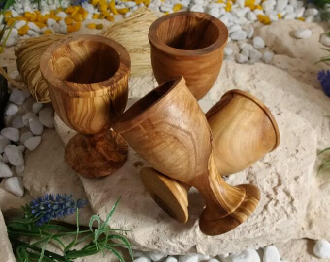 4 egg Cup set olive wood unique wood set hand work