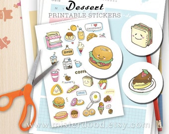 DESSERT Printable Sticker, Daily Lifestyle, Cute Cupcakes Coffee Snack Burger Cakes Sandwich, Diary Planner Journal Notebook, Clipart Doodle