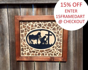 Humble Praying Cowboy Art composed of Cast Iron centerpiece, Mosaic tile design and Handcrafted Frame