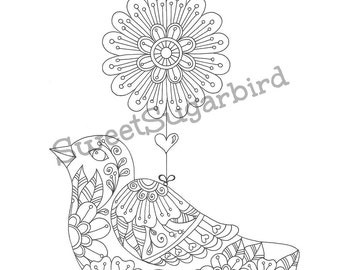 Swing Birds No.2 - Hand Drawn Colouring Page