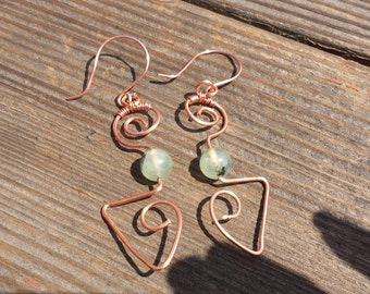 WIRE WRAPPED EARRINGS Prehnite in Hand Hammered Copper Handmade
