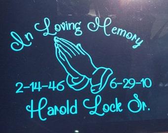 In Loving Memory Praying Hands Memorial Decal, Praying Hands Decal, Remembrance Decal, Memorial Decal, Praying Hands Decal