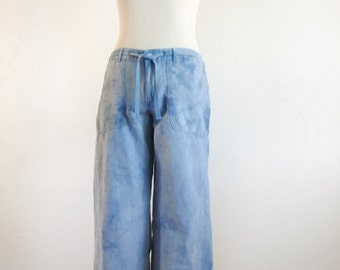 Cotton Flax Indigo Blue Pants - Upcycled Pants - Eco Friendly - Size S / M - Altered Pants - Shibori Pants - Tie Dye Pants - Blue Pants