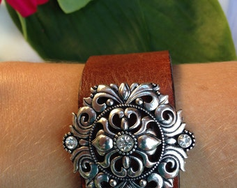 Brown Leather Cuff with Silver Embellishment, Vintage Cuff, Genuine Leather Cuff, Boho Chic, Rustic. genuine leather cuff, embellished cuff