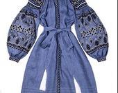 """Ukrainian vyshyvanka, midi dress. Vyshyvanka embroidery dress. Boho embroidered  vyshyvanka by Vita Kin Style. Model """"Fashion"""""""