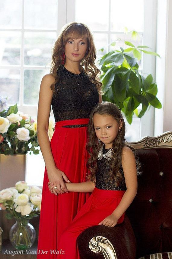 Mother daughter matching dress! Black with Red Maxi Dress