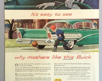 """1958 General Motors Buick B-58 Print Ad - """"It's easy to see why mothers like this Buick"""""""
