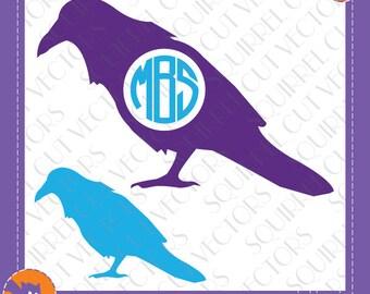 Crow Raven Monogram Frame SVG DXF EPS Cutting file