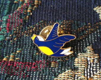 Blue and Yellow Bird Pin