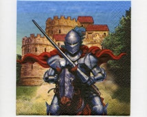 Medieval Knight PAPER LUNCH NAPKINS  (New Package) - Lunch Napkins - Paper Napkins - Renaissance Party Napkins -Decoupage Napkins