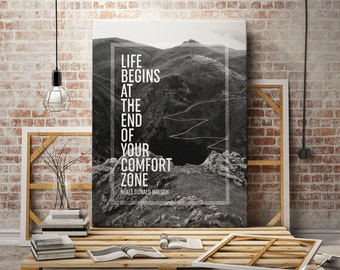 Inspirational Dorm Printable, Inspirational Dorm Decor, Motivational Dorm Print, Black and White Photo, Black White Mountains Photography