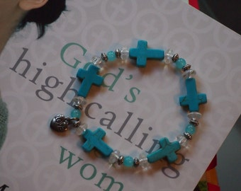 Clearly Turquoise Cross Bracelet