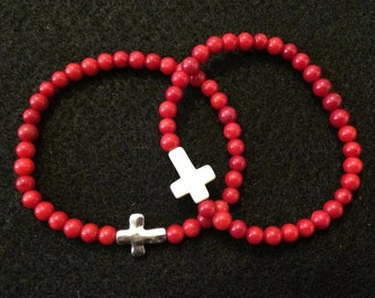 Men's Cross Beaded Bracelet
