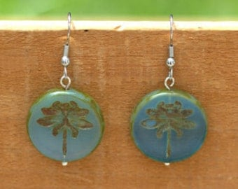 Blue, Green, and Brown Dragonfly Earrings
