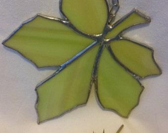 Stained Glass Maple Leaf Suncatcher - Light Green