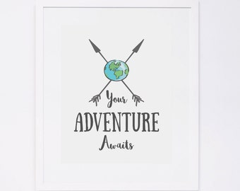 Your Adventure Awaits Wall Art, Typography Print, Arrow Art Print, Instant Download, Printable Wall Art