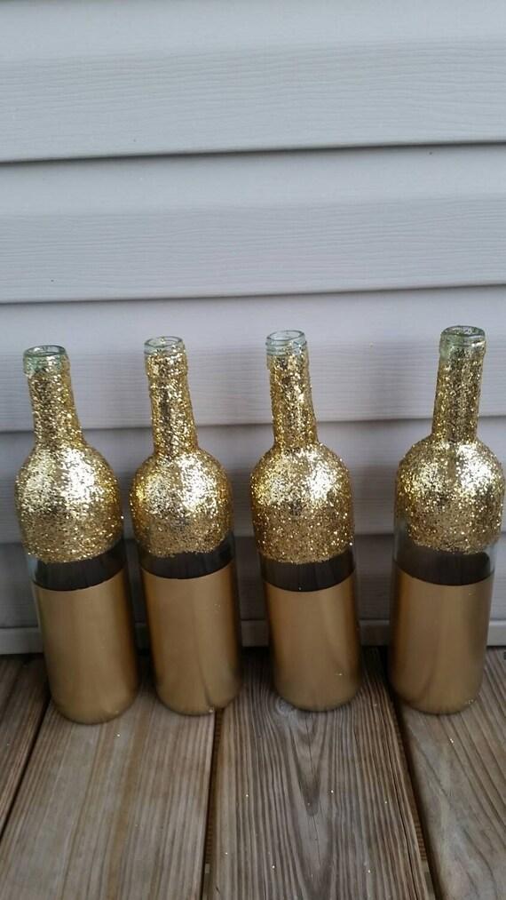Items similar to set of 8 wine bottle centerpieces gold for Gold wine bottle centerpieces