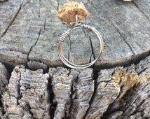 SALE PRICE - Wine Cork Ring - Silver Wire Ring - Handmade Wire Jewelry - Wine Cork Craft
