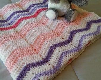 Crochet Baby Blanket, Receiving Blanket, Crochet Baby Afghan, Crochet Ripple Baby Blanket, Crochet Ripple Afghan, Pink, Purple