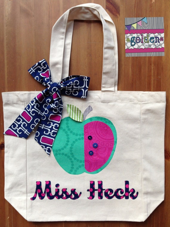 Personalized Name and Apple Teacher Tote Bag with Fabric Bow, Navy, Green, Pink