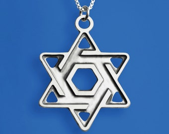 Masculine Star of David Necklace - Sterling Silver. Designed especially for boys and men. One of our best sellers!