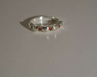 Free Shipping 925 Sterling Silver Ruby Crystal Heart Ring, Heart Ring, Size 7 Ring