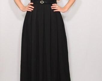 Maxi skirt Long black skirt Women skirt Chiffon skirt High waisted maxi skirt with pockets