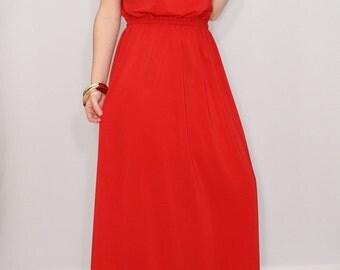Evening dress Red Bridesmaid dress Chiffon dress Prom dress long Keyhole dress