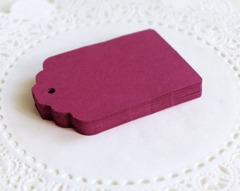 Violet Scallop Tags, Cardstock Hang Tags, Wedding Favor Tags, Gift Tags
