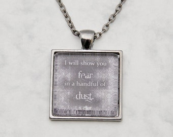 "T. S. Eliot ""I will show you fear..."" Poem Waste Necklace Pendant quote Glascabochon handmade fashion jewelry gunmetal black grunge vintage"