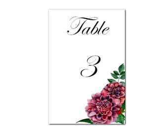 Wedding decor Wedding decorations Wedding decoration ideas Table cards Table number printable Table number cards Wedding table numbers 1W19