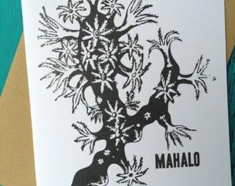Mahalo Greeting Card // Hawaii Greeting Card // Hawaiian Thank You Card // Coral Greeting Card