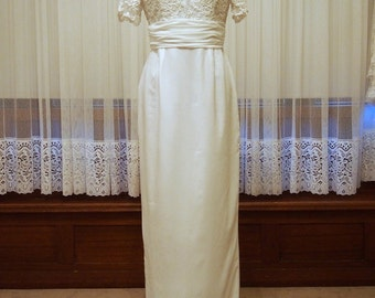 Pencil/Sheath Short Sleeve Vintage Wedding Dress