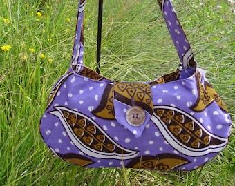 Shoulder Bag: Francina Purple Leaf