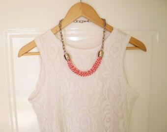 salmon pink necklace knitted necklace boho necklace knit necklace statement jewelry chunky necklace knit jewelry coral jewelry free shipping