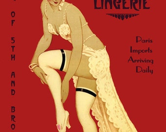 Fashion Lady Fay's House of Lingerie Paris France to Broadway New York City Vintage Poster Repro FREE SHIPPING