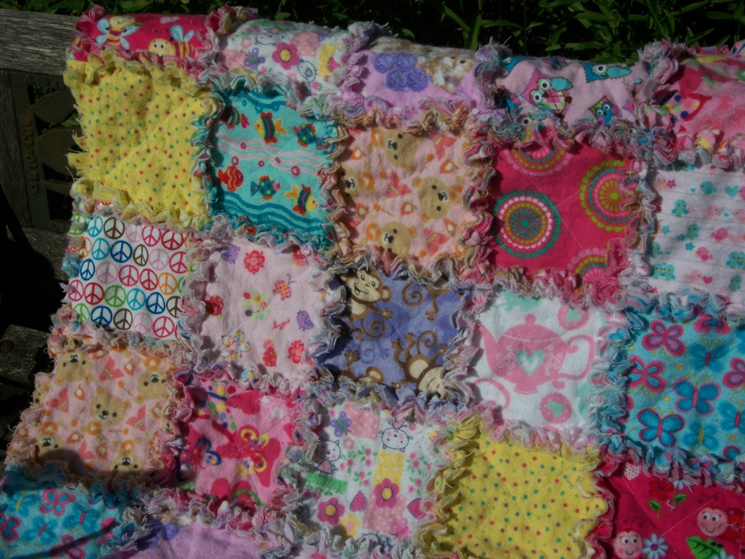 Flannel Rag Quilt Doll Quilt Pet Carrier Blanket Pink