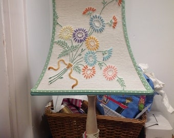 Lovely lampshade with sweet embroidered flowers