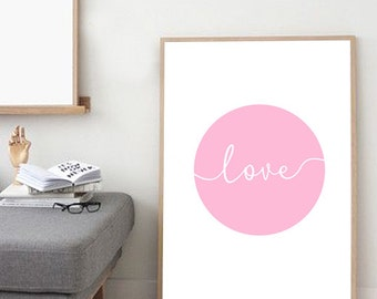 Giclee Print, Minimalist Print, Typography Print, Wall Decor, Love Print, Wall Art, Nursery Print, Pink Blush Rose, Nordic Print, Kids Room