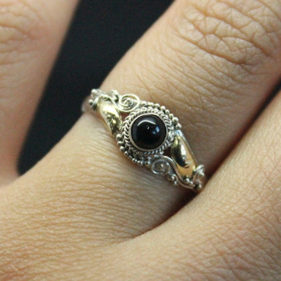 Vintage Black Onyx 14k Gold Plated Silver Ring | Stacking Black Onyx Ring | Sterling Silver 925 Ring | 14k Yellow Gold Plated Ring