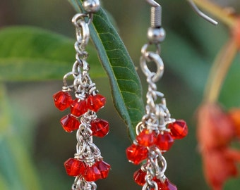 Freda Line ~ Earrings Modernly Retro Glass Beaded Dangles