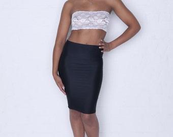 Black Lycra Pencil Skirt Pin Up Bodycon P99