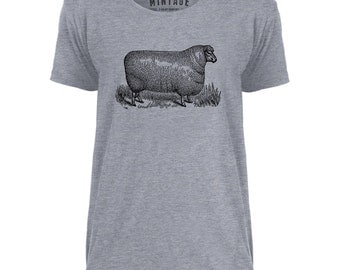 Mintage Wooly Sheep Mens Scoop Neck T-Shirt