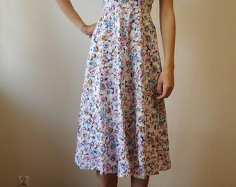 SALE/// Vintage Flower Strappy Dress Colorfull Dress