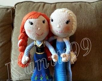 """Elsa & Anna frozen/Crochet doll/Elsa height 17""""/Anna height 16"""""""