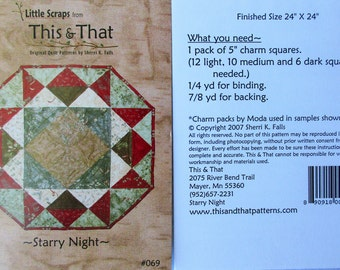 """This & That Quilt Pattern ~ """"Starry Night"""" #069"""